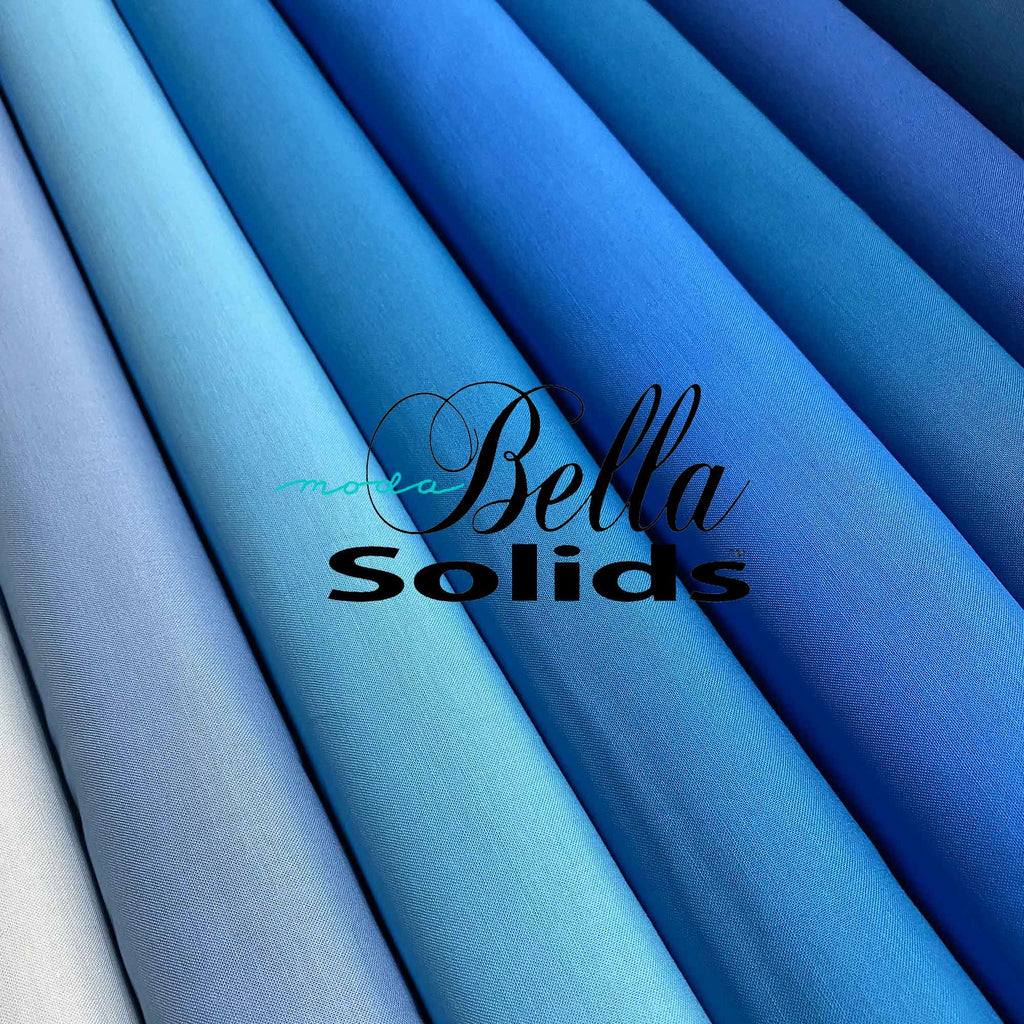 "MODA ""BELLA 9900"" SOLID COTTON Blue Tone Group 2 by the 1/2 yard"