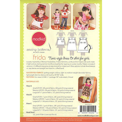 "MODKID ""FRIDA-TUNIC STYLE DRESS & SHIRT"" Sewing Pattern"