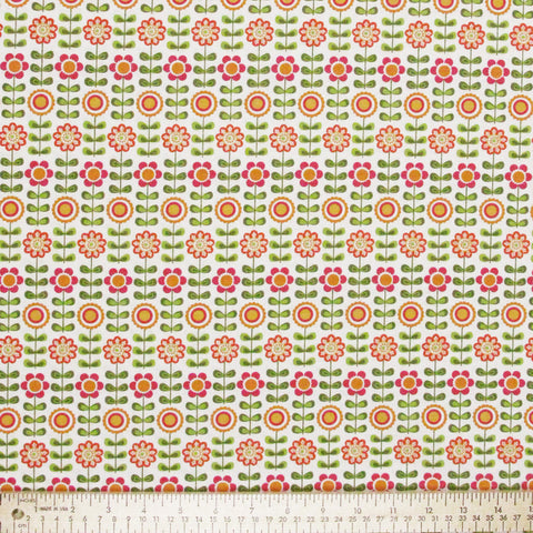 "RILEY BLAKE ""SUMMER SONG"" SUMMER FLOWERS White by 1/2 yard"