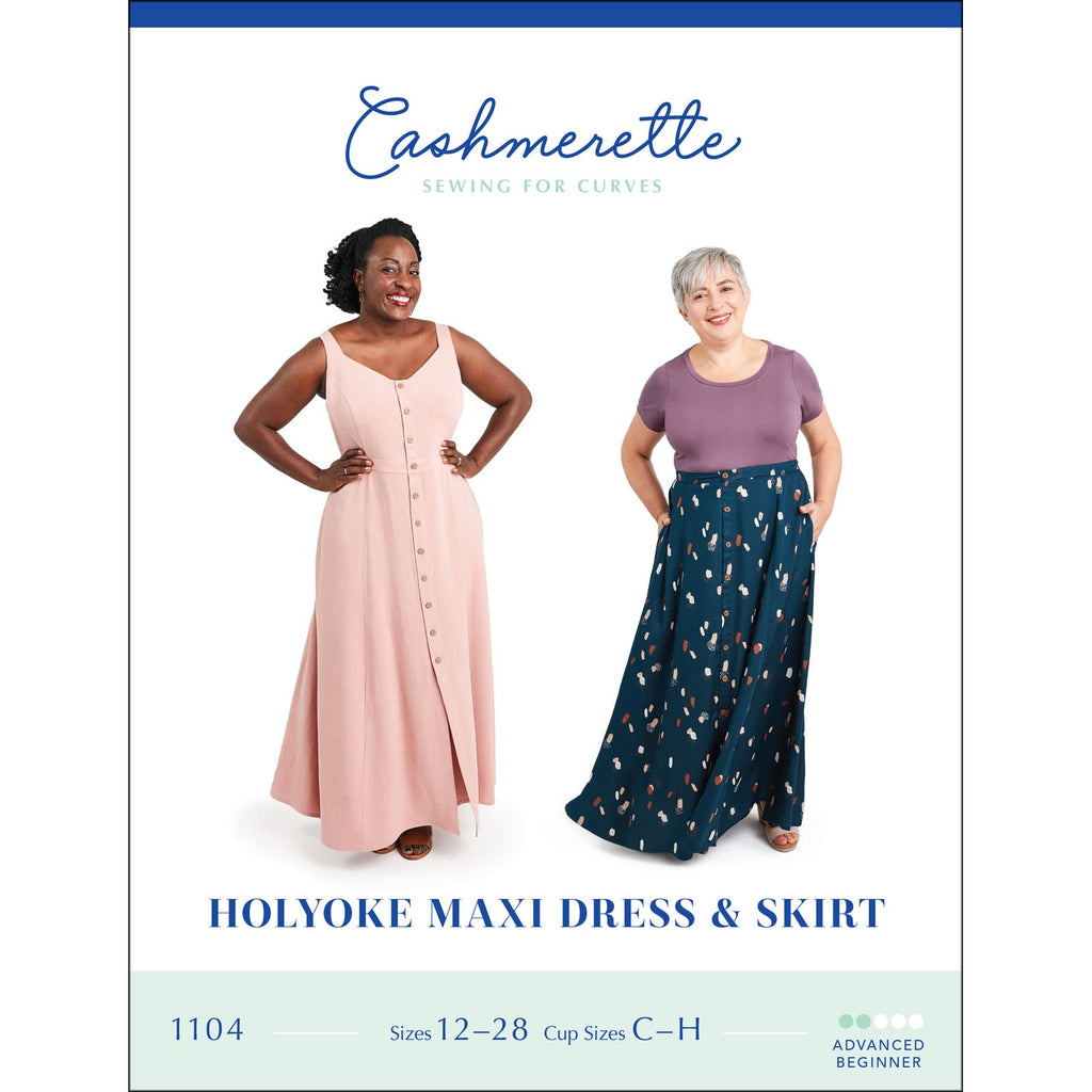 "CASHMERETTE ""HOLYOKE MAXI DRESS & SKIRT"" PLUS SIZE Sewing Pattern"