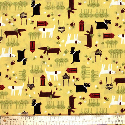 "ROBERT KAUFMAN ""WHISKERS & TAILS"" DOGS Yellow by 1/2 yard"