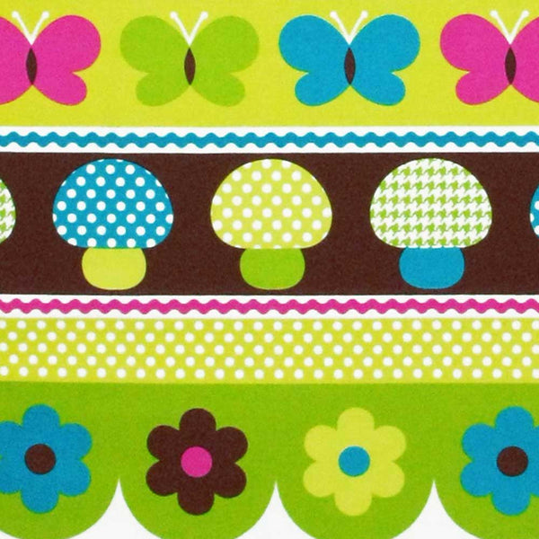 "MICHAEL MILLER ""MUSHROOM BORDER"" Caribe by 1/2 yard"