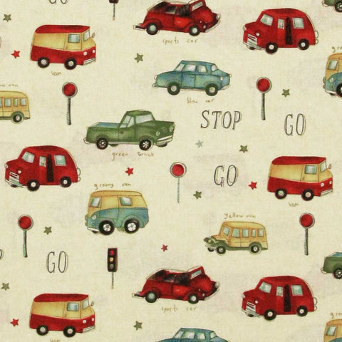 "MICHAEL MILLER ""STOP N GO"" Cream by 1/2 yard"