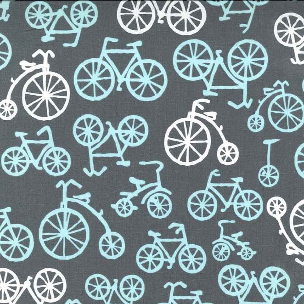 "MICHAEL MILLER ""BICYCLES"" Gray BY 1/2 YARD"