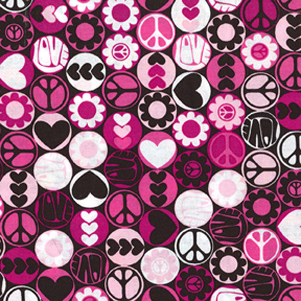 "MICHAEL MILLER ""PEACE BUTTONS"" Pink 31 inches"