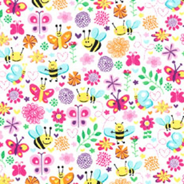 "MICHAEL MILLER ""BUSY BEE"" Pink 1 yard 22 inches"