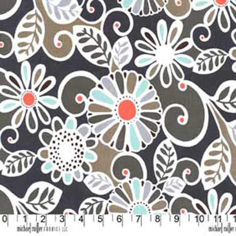"MICHAEL MILLER ""FLORAL FLING"" Sea by 1/2 yard"