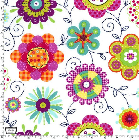 "MICHAEL MILLER ""PEPPY PETALS"" White BY 1/2 YARD"