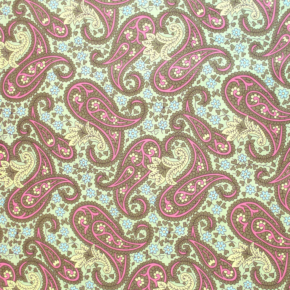 "AMY BUTLER ""CHARM"" PAISLEY Green Yellow by 1/2 yard"