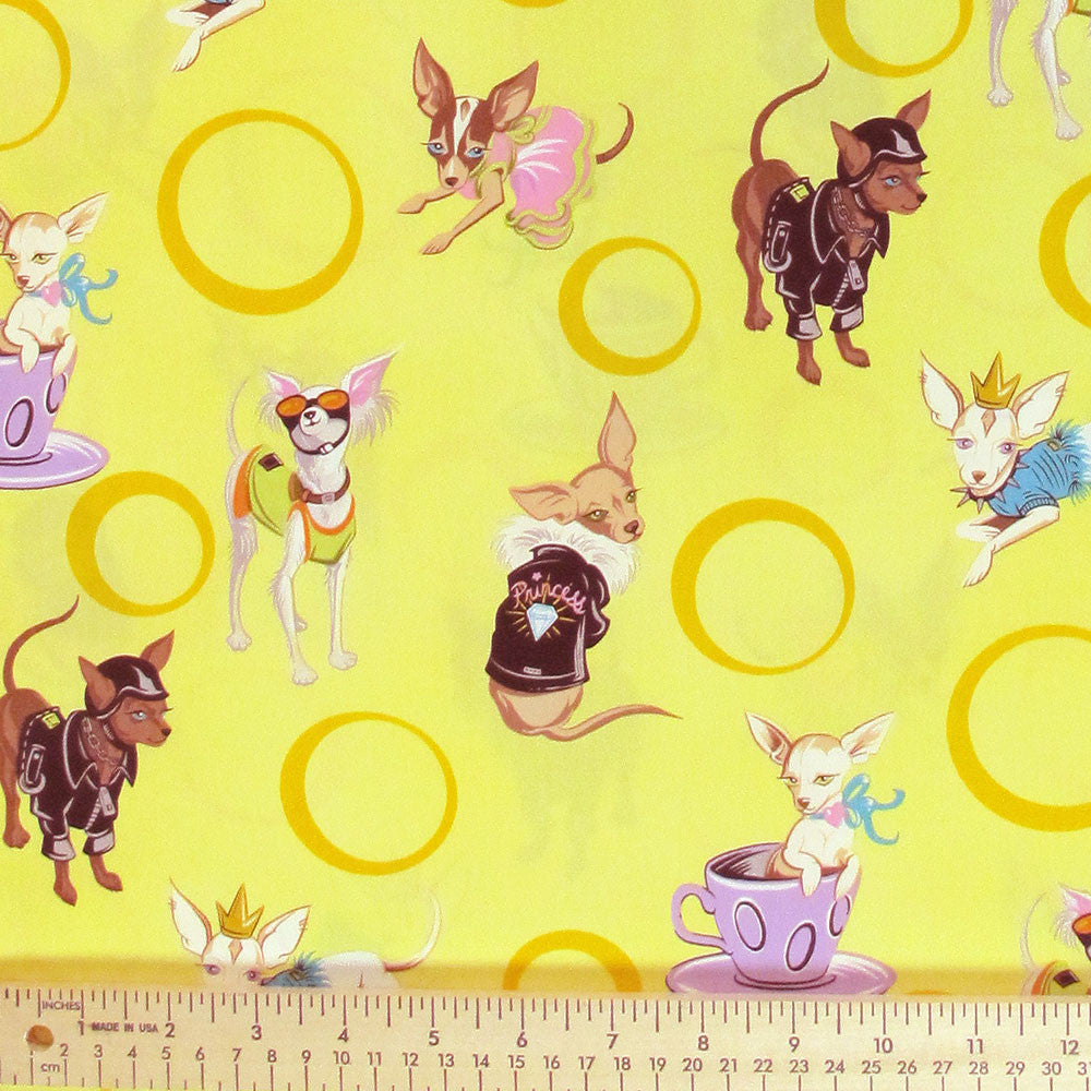 "ROBERT KAUFMAN ""DIVA DELIGHTS"" CHIHUAHUAS Buttercup by 1/2 yard"