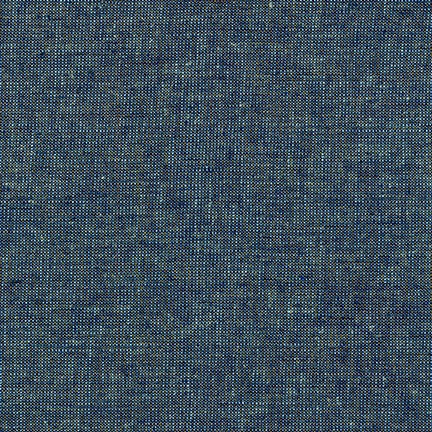 "ROBERT KAUFMAN ""ESSEX YARN DYED METALLIC"" Linen Cotton Blend OCEAN by the 1/2 yard"