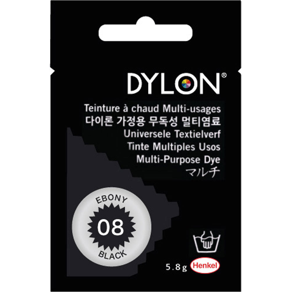 "DYLON ""MULTI PURPOSE HOT WATER DYE"" 5g package EBONY BLACK"