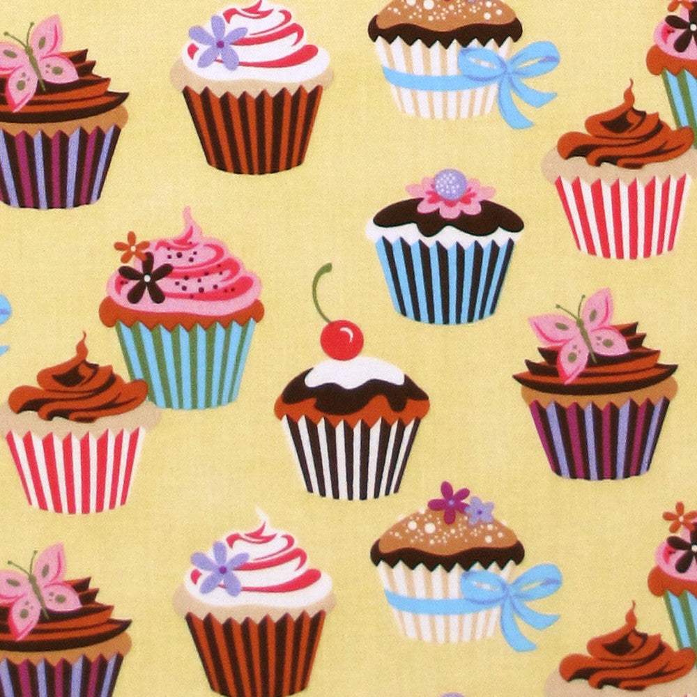 "ROBERT KAUFMAN ""SWEET TOOTH"" CUPCAKE Yellow by 1/2 yard"