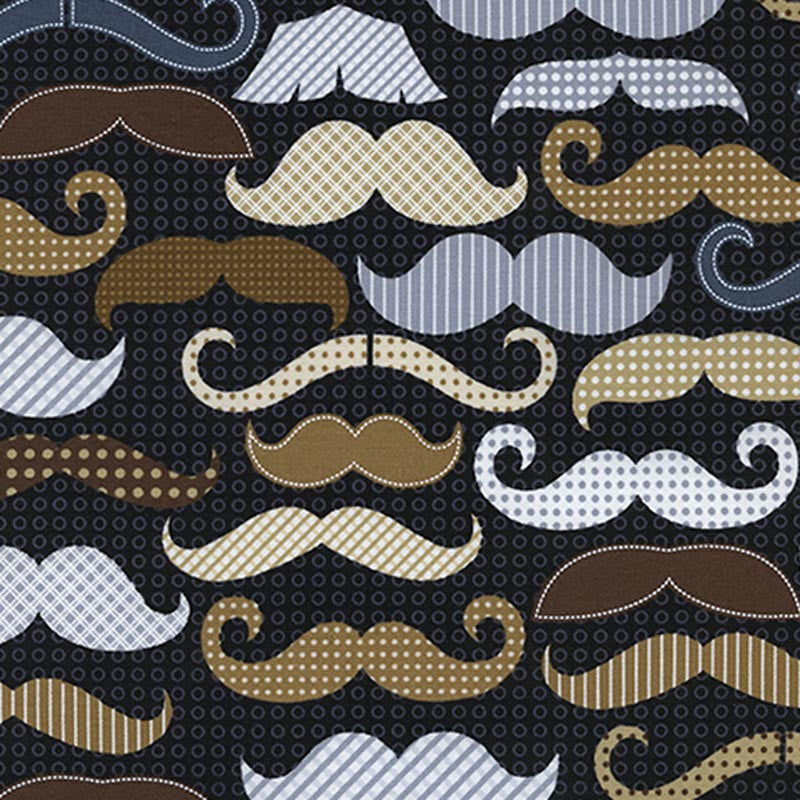 "TIMELESS TREASURES ""MENSWEAR"" MOUSTACHES Black 28.5 inches"