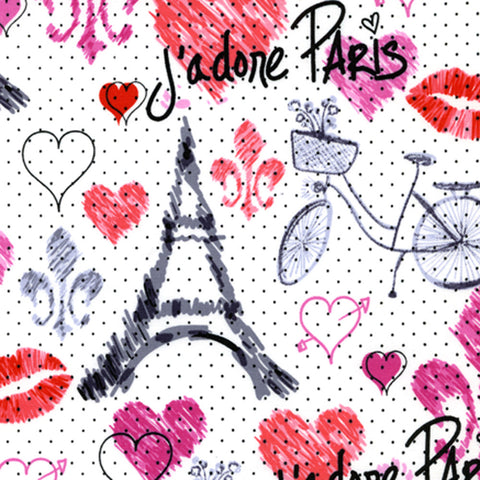 "TIMELESS TREASURES ""APRIL IN PARIS"" SKETCH PARIS White by 1/2 yard"
