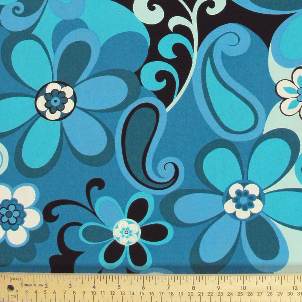 "ROBERT KAUFMAN ""FLOWER POWER"" FLORAL Blue by 1/2 yard"