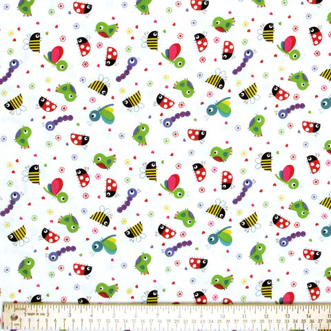"HOFFMAN ""FLOWER FRIENDS"" White by 1/2 yard"