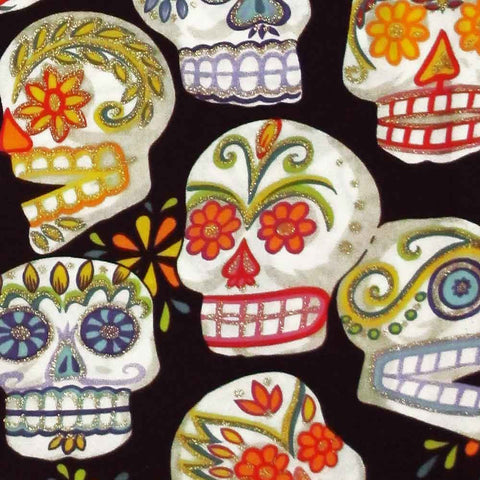 "ALEXANDER HENRY ""CALAVERAS"" Black with Glitter 29 inches"