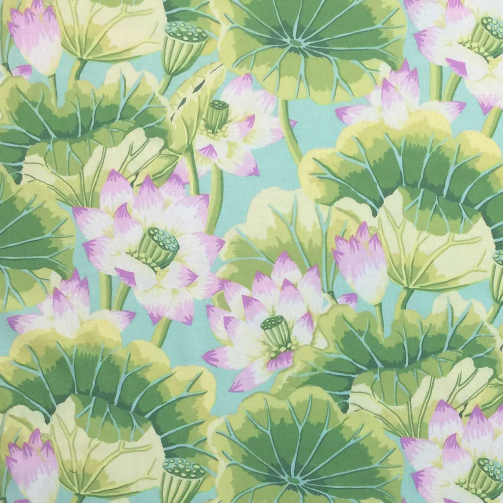 "FREE SPIRIT ""KAFFE FASSETT CLASSICS"" LAKE BLOSSOMS GP93 GREEN BY 1/2 YARD"