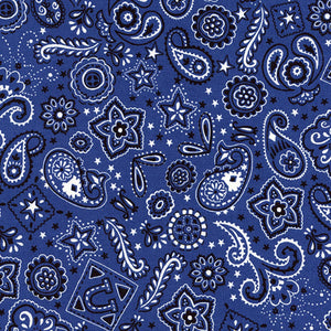 "TIMELESS TREASURES ""GIDDY UP"" BANDANA Blue 29 inches"
