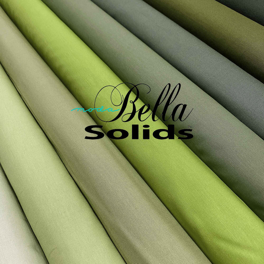"MODA ""BELLA 9900"" SOLID COTTON Green Tone Group 2 by the 1/2 yard"