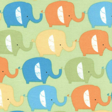 "HOFFMAN ""IT'S A JUNGLE OUT THERE"" ELEPHANT Green by 1/2 yard"