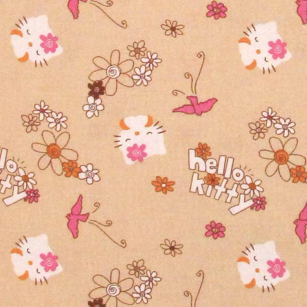 "DAVID ""HELLO KITTY"" KITTY & FLOWERS Tan by 1/2 yard"
