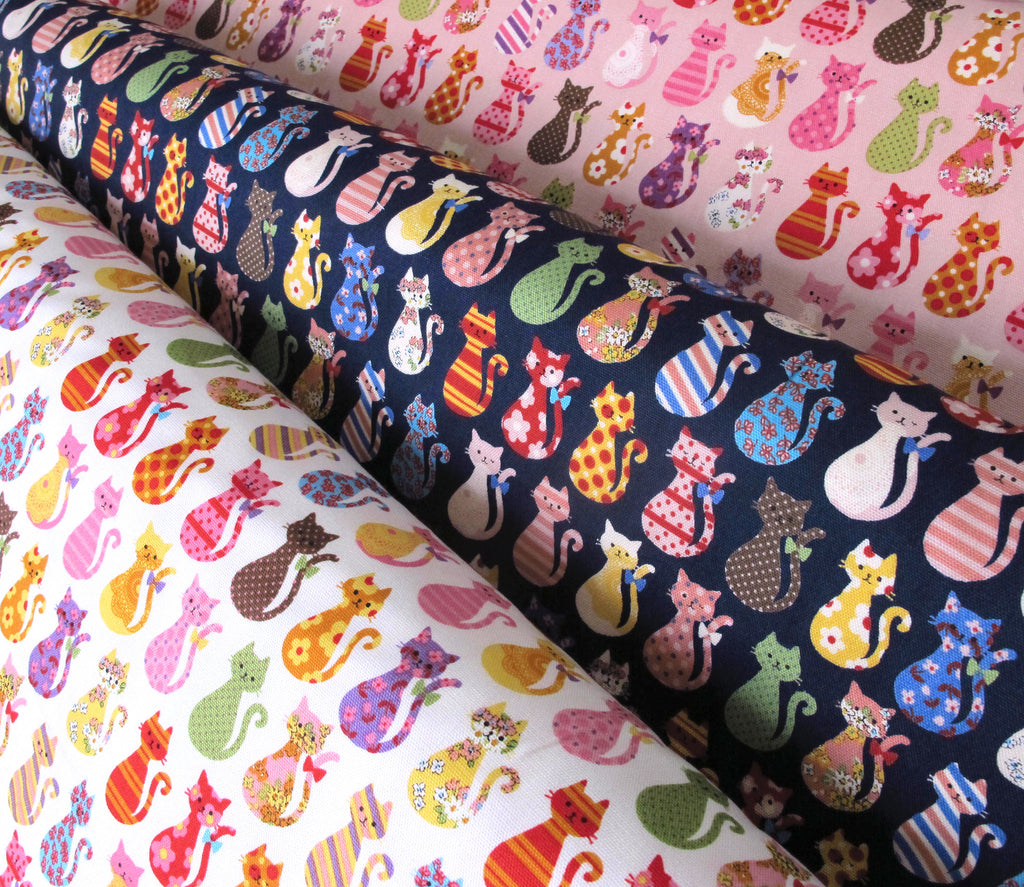 "Kokka ""COLORFUL CATS"" Navy Japanese import Oxford Cotton by 1/2 yard"