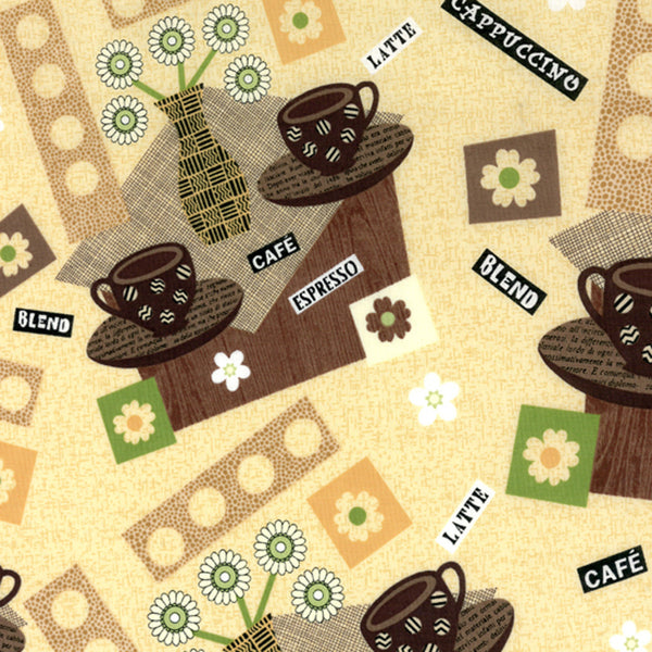 "HOFFMAN ""CAFE MILAN"" CAFE Coffee by 1/2 yard"