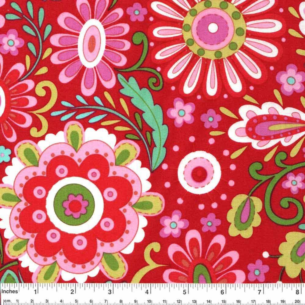 "FREE SPIRIT ""LOVE & JOY"" DAISY Red by 1/2 yard"