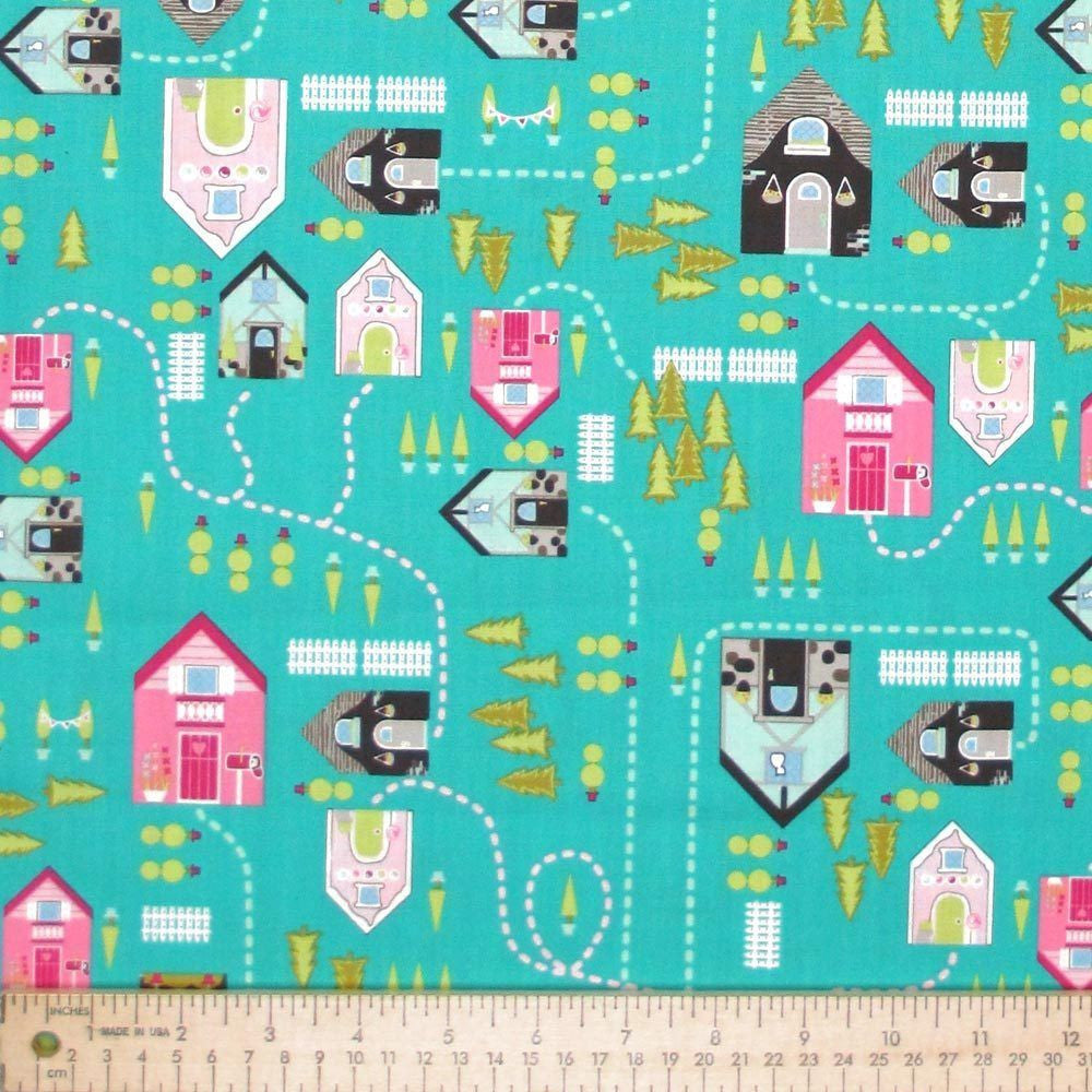 "ANDOVER ""STORYBOOK LANE"" STREET MAP Turquoise"