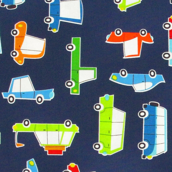 "ROBERT KAUFMAN ""ON THE ROAD"" CARS Navy by 1/2 yard"