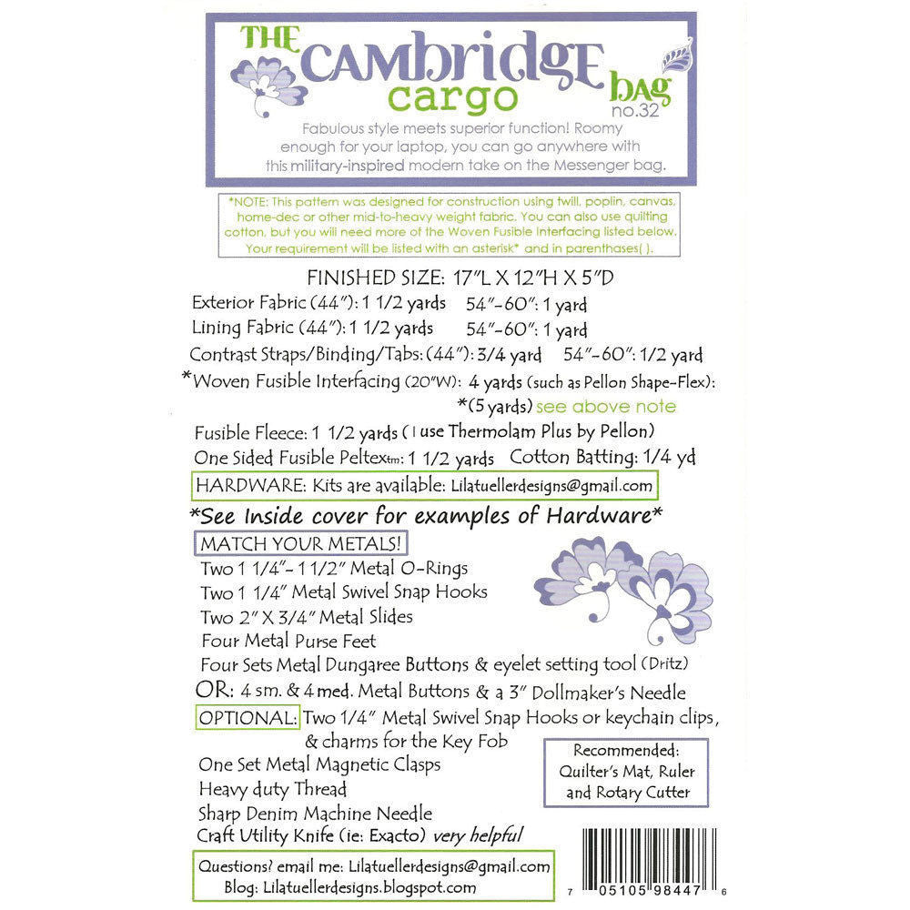 "LILA TUELLER""THE CAMBRIDGE CARGO"" Sewing Pattern"