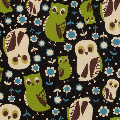 "KOKKA ""TREFLE"" OWL OXFORD Navy by 1/2 yard"