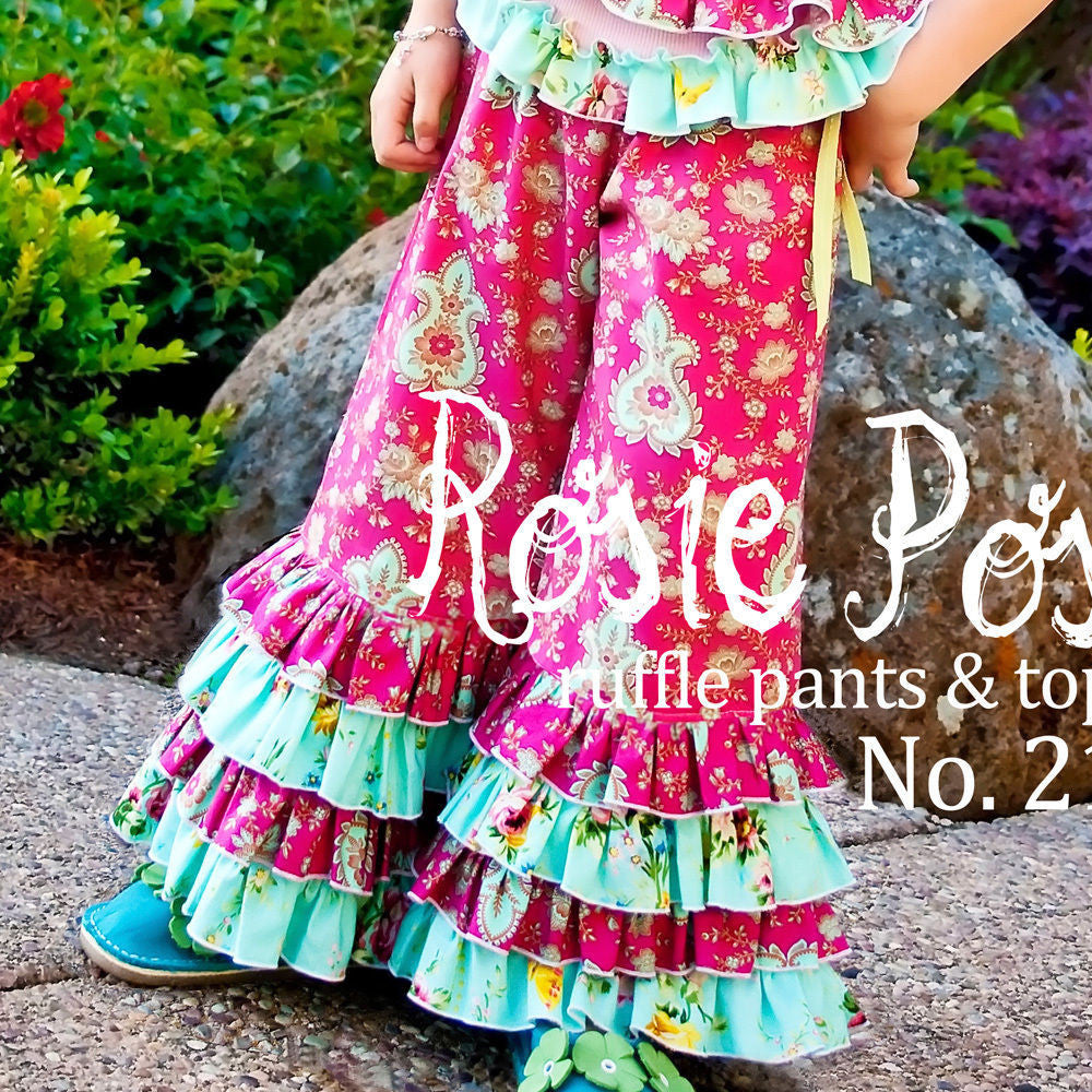 "PINK FIG ""ROSIE POSIE-RUFFLE PANTS & TOP"" Sewing Pattern"