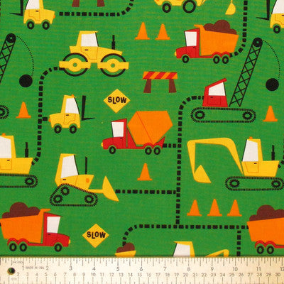 "ROBERT KAUFMAN ""CONE ZONE"" ROAD WORK Green BY 1/2 YARD"