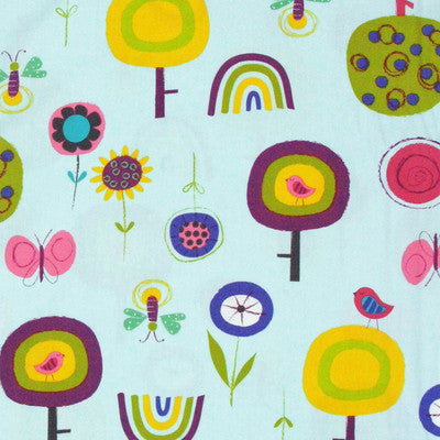 "ROBERT KAUFMAN ""FLY AWAY"" GARDEN Sunset by 1/2 yard"