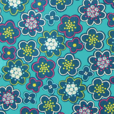 "FREE SPIRIT ""PARK SLOPE"" FLOWER FIELD Teal by 1/2 yard"