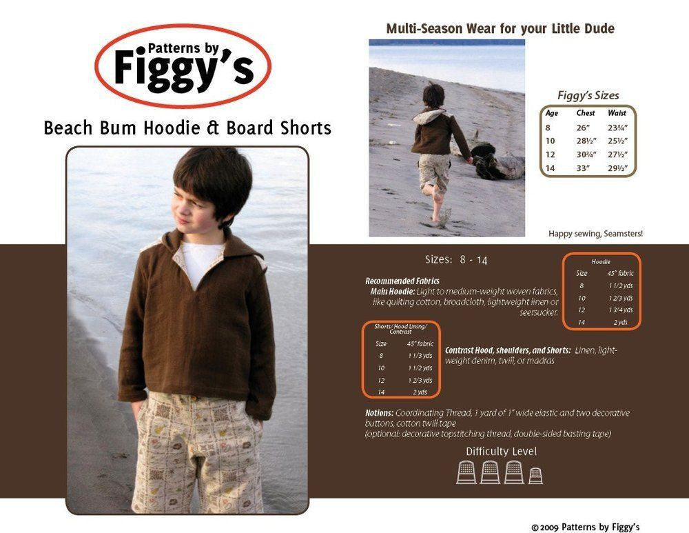 "FIGGY'S ""BEACH BUM HOODIE & BOARD SHORTS"" Sewing Pattern 8Y-14Y size"