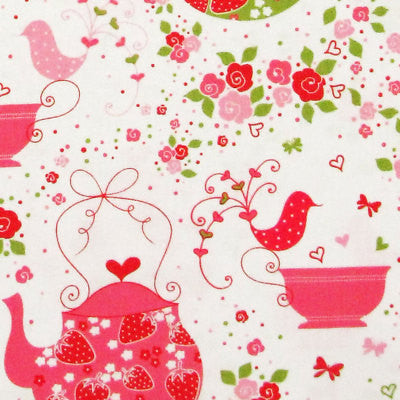 "MICHAEL MILLER ""STRAWBERRY TEA PARTY"" Pink BY 1/2 YARD"