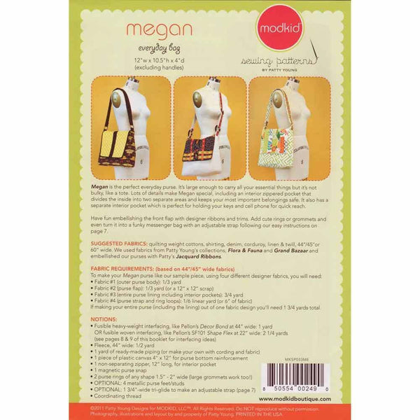 "MODKID ""MEGAN-EVERYDAY BAG"" Sewing Pattern"