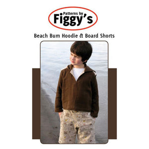 "FIGGY'S ""BEACH BUM HOODIE & BOARD SHORTS"" Sewing Pattern 18M-6/7Y size"