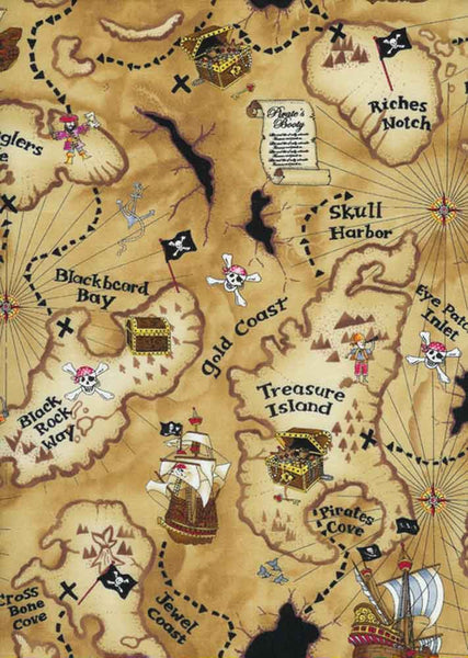 "TIMELESS TREASURES ""PIRATE MAP"" Tan by 1/2 yard"