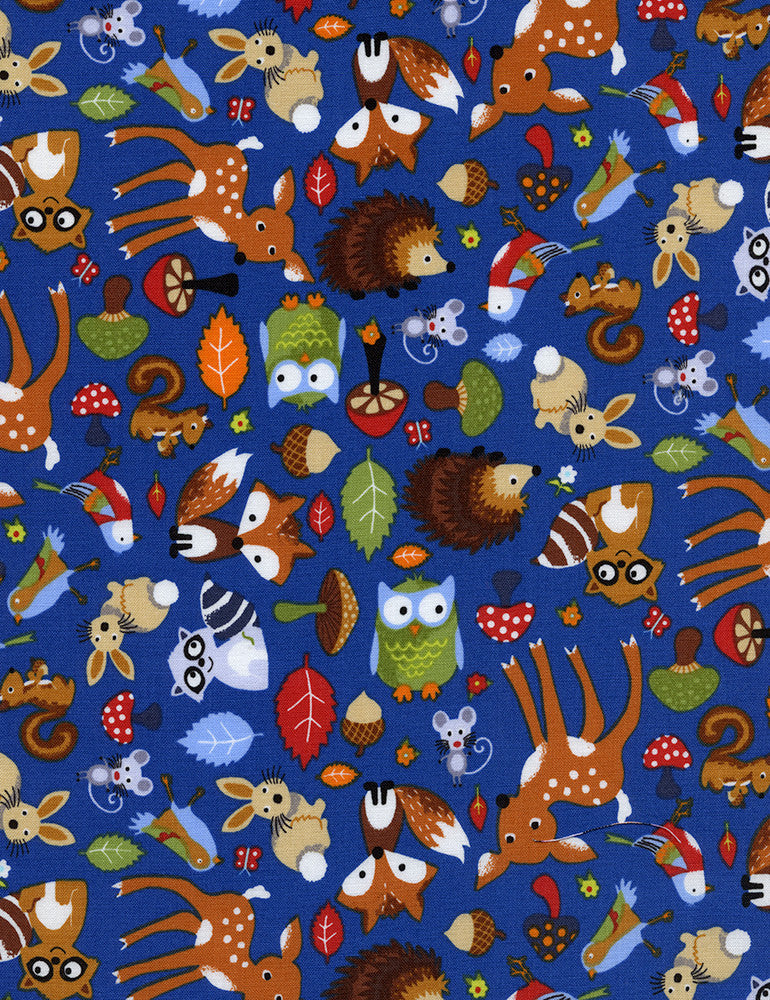 "TIMELESS TREASURES ""BRIGHT EYED BUSHY TAILED"" WOODLAND ANIMALS Blue by 1/2 yard"