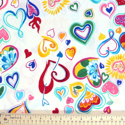 "ALEXANDER HENRY ""LOVE-IN"" White by 1/2 yard"