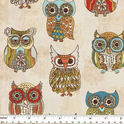 "TIMELESS TREASURES ""FUNKY OWLS"" Cream by 1/2 yard"