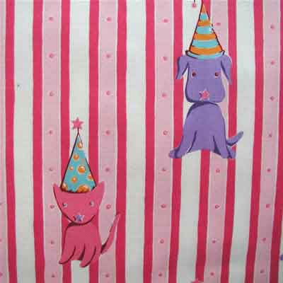 "FREE SPIRIT ""CIRCUS"" Cat & Dog Stripe Pink 23 inches"