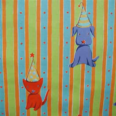 "FREE SPIRIT ""CIRCUS"" Cat+Dog Stripe Orange by 1/2 yard"