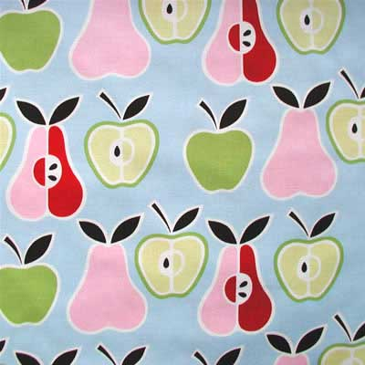 "ALEXANDER HENRY ""APPLES+ PEARS"" Blue 20 inches"