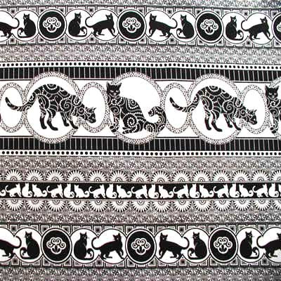 "MICHAEL MILLER ""KITTY STRIPE"" Black and White by 1/2 yard"